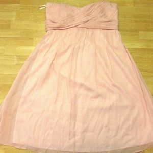 Silk Pink Ruched Sweetheart Strapless A-line Dress